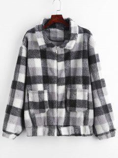 ZAFUL Zip Up Fluffy Plaid Teddy Winter Coat - Black L