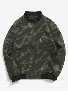 Simple Zipper Placket Baseball Jacket - Army Green M