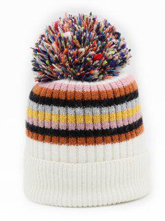 Winter Fuzzy Striped Decoration Beanie - White