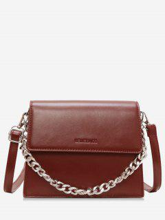 Chain Decorative Flap Corssbody Bag - Red Wine