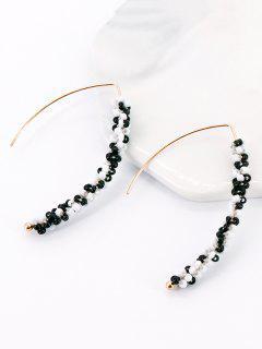 Beads Metal Stud Earrings - Noir Profond