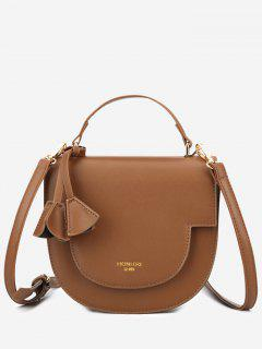 Tassel Cover Semicircle Tote Bag With Strap - Brown
