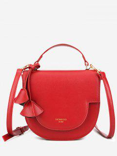 Tassel Cover Semicircle Tote Bag With Strap - Red