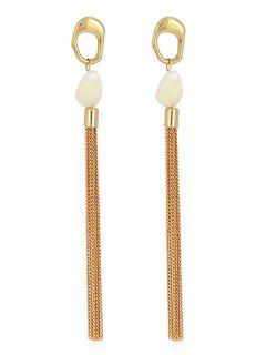 Shell Metal Chain Tassel Metal Ring Stud Earrings - Gold