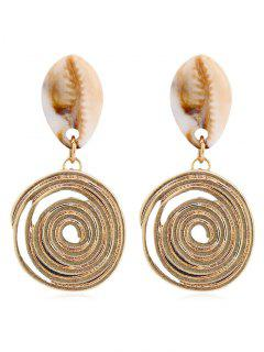 Shell Stud Metal Spiral Shape Drop Earrings - Gold