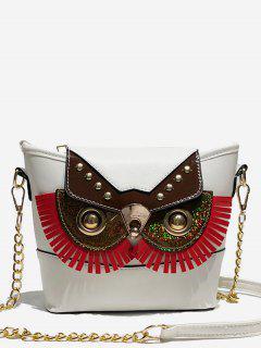 Metal Chain Joint Owl Pattern Crossbody Bag - White