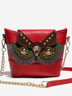 Metal Chain Joint Owl Pattern Crossbody Bag - Red