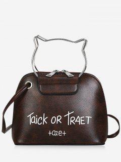 Cat Head Shape Character Pattern Handbag Belt Crossbody Bag - Deep Brown