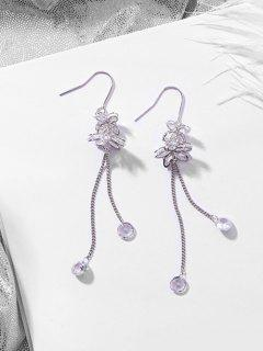 Rhinestone Floral Shape Tassel Drop Earrings - Silver