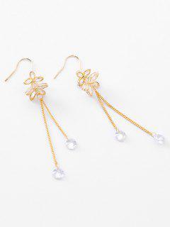 Rhinestone Floral Shape Tassel Drop Earrings - Oro