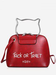 Cat Head Shape Character Pattern Handbag Belt Crossbody Bag - Red