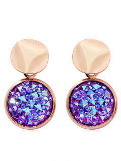 Rhinestone Geometric Design Drop Earrings - Purple Amethyst