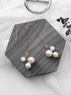 Faux Pearl Decoration Drop Earrings - White