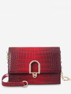 Chain Metal Button Single Shoulder Crossbody Bag - Red Wine