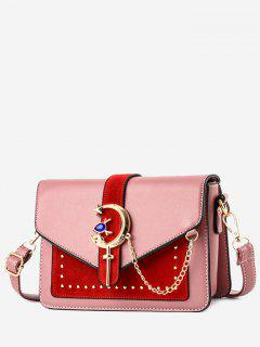 Crescent Pattern Joint Leather Square Crossbody Bag - Pink
