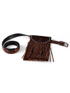 Leopard Pattern Tassel Fanny Pack Belt - Deep Brown