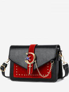Crescent Pattern Joint Leather Square Crossbody Bag - Black