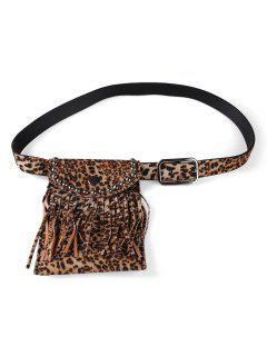 Leopard Pattern Tassel Fanny Pack Belt - Camel Brown