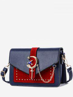 Crescent Pattern Joint Leather Square Crossbody Bag - Blueberry Blue