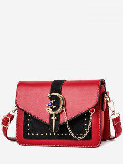 Crescent Pattern Joint Leather Square Crossbody Bag - Red Wine