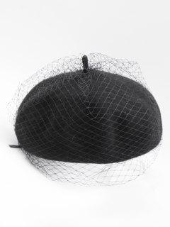 Winter Fuzzy Mesh Design Beret - Black