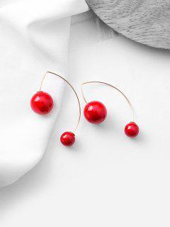 Faux Pearl Decoration Dangle Earrings - Rouge