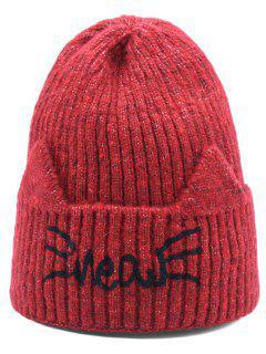Woolen Knitted Winter Letter Pattern Hat - Red Wine