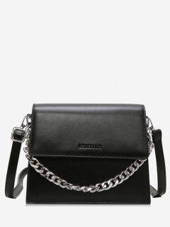Chain Decorative Flap Corssbody Bag - Black