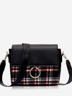 Round Hole Checked Panel Crossbody Bag - Red