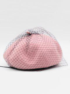 Winter Fuzzy Mesh Design Beret - Pink