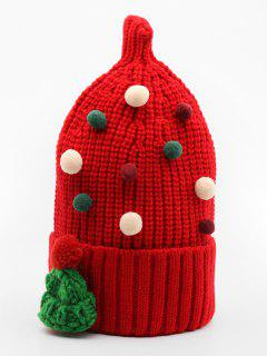 Fuzzy Ball Embellished Knitted Beanie - Red