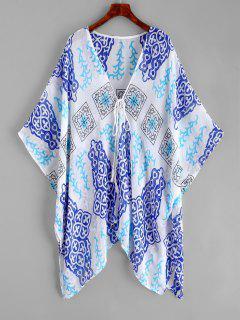 Robe Couverte Kimono Imprimée Nouée En Avant - Multi-a