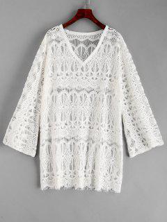 Kleid Mit Spitzenbesatz - Weiß