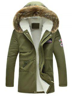 Fluffy Lined Warm Hooded Jacket - Army Green S