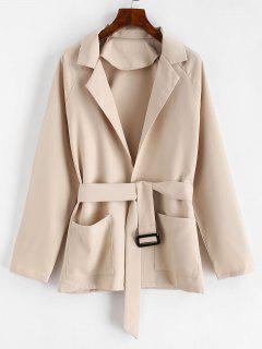 Belted Lapel Coat With Pockets - Tan L