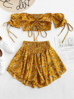Schulterfrei Cinched Floral Set - Goldgelb S