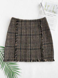 Falda De Tweed Con Flecos - Multicolor-b S