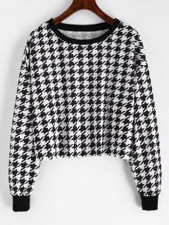 Drop Shoulder Houndstooth Crop Sweatshirt - Black M