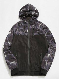 Veste à Capuche Coupe Vent Camouflage - Gris Xl