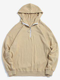 Top Zipper Solid Casual Hoodie - Khaki L