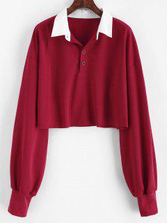 ZAFUL Cropped Half Buttoned Sweatshirt - Red Wine S