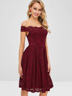 Off Shoulder Scalloped Lace Dress - Red Wine M