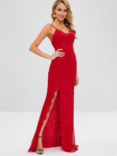 High Slit Spaghetti Strap Lace Dress - Red M