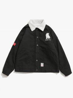 Cat Print Fluffy Lined Jacket - Black L
