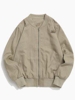 Back Letter Patchwork Zipper Jacket - Khaki M