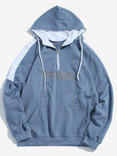 Contrast Sentence Embroidery Hoodie - Blue Xl