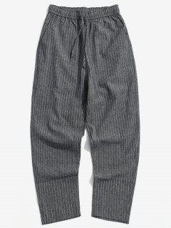 Stripe Casual Drawstring Pants - Dark Slate Grey M