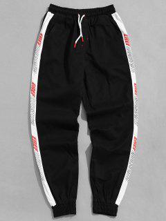 Pantalon De Jogging Lettre Contrastée à Côté - Noir L