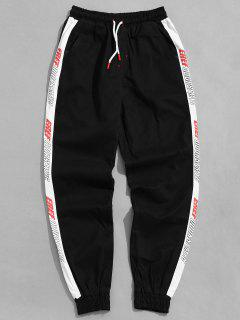 Contrast Side Letter Jogger Pants - Black 4xl