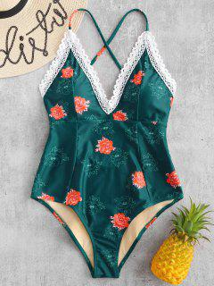 ZAFUL Laced Floral Crisscross One Piece Swimsuit - Dark Green L